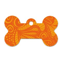 Pop Orange Dog Tag Bone (two Sides)