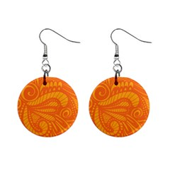 Pop Orange Mini Button Earrings by ArtByAmyMinori