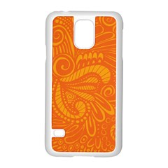 Pop Orange Samsung Galaxy S5 Case (white) by ArtByAmyMinori