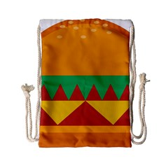 Burger Bread Food Cheese Vegetable Drawstring Bag (small) by Samandel