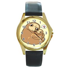 Sloth Round Gold Metal Watch