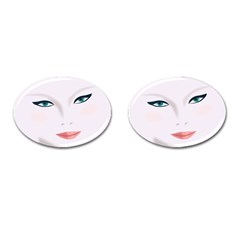 Face Beauty Woman Young Skin Cufflinks (oval) by Samandel