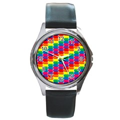 Rainbow 3d Cubes Red Orange Round Metal Watch
