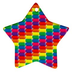 Rainbow 3d Cubes Red Orange Ornament (star)
