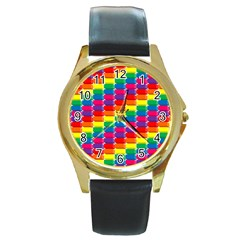 Rainbow 3d Cubes Red Orange Round Gold Metal Watch