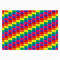 Rainbow 3d Cubes Red Orange Large Glasses Cloth by Samandel