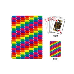 Rainbow 3d Cubes Red Orange Playing Cards (mini) by Samandel
