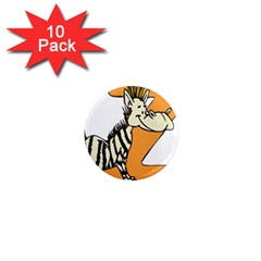 Zebra Animal Alphabet Z Wild 1  Mini Magnet (10 Pack)