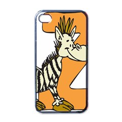 Zebra Animal Alphabet Z Wild Apple Iphone 4 Case (black) by Samandel