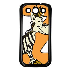 Zebra Animal Alphabet Z Wild Samsung Galaxy S3 Back Case (black) by Samandel