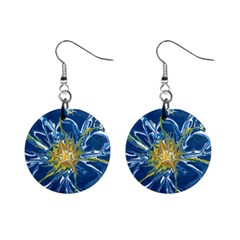 Blue Star Flower Mini Button Earrings