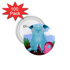 Pig Animal Love 1 75  Buttons (100 Pack)