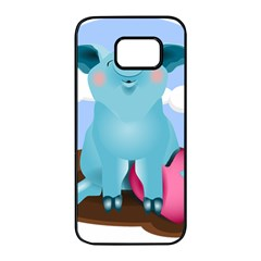 Pig Animal Love Samsung Galaxy S7 Edge Black Seamless Case by Samandel