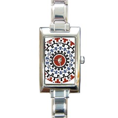 Mandala Art Ornament Pattern Rectangle Italian Charm Watch