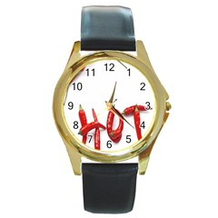 Hot Round Gold Metal Watch