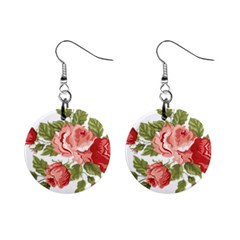 Flower Rose Pink Red Romantic Mini Button Earrings