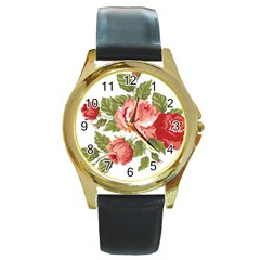 Flower Rose Pink Red Romantic Round Gold Metal Watch