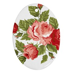 Flower Rose Pink Red Romantic Oval Ornament (two Sides)