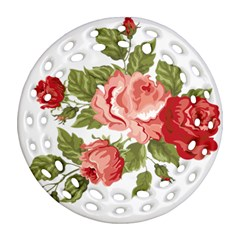 Flower Rose Pink Red Romantic Ornament (round Filigree)