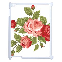 Flower Rose Pink Red Romantic Apple Ipad 2 Case (white) by Samandel