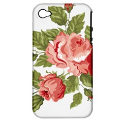 Flower Rose Pink Red Romantic Apple Iphone 4/4s Hardshell Case (pc+silicone)