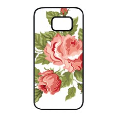 Flower Rose Pink Red Romantic Samsung Galaxy S7 Edge Black Seamless Case by Samandel