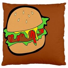 Burger Double Standard Flano Cushion Case (one Side)