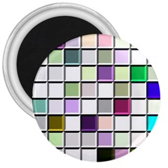 Color Tiles Abstract Mosaic Background 3  Magnets by Samandel