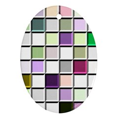 Color Tiles Abstract Mosaic Background Ornament (oval)