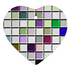 Color Tiles Abstract Mosaic Background Ornament (heart)