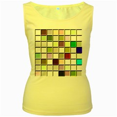 Color Tiles Abstract Mosaic Background Women s Yellow Tank Top by Samandel