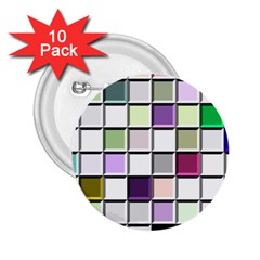 Color Tiles Abstract Mosaic Background 2 25  Buttons (10 Pack)  by Samandel