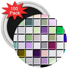 Color Tiles Abstract Mosaic Background 3  Magnets (100 Pack)