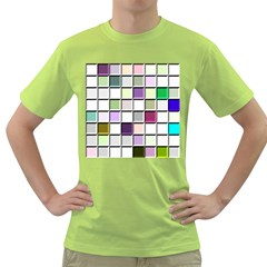 Color Tiles Abstract Mosaic Background Green T Shirt