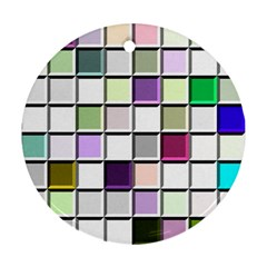 Color Tiles Abstract Mosaic Background Round Ornament (two Sides)