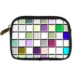 Color Tiles Abstract Mosaic Background Digital Camera Leather Case by Samandel