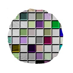 Color Tiles Abstract Mosaic Background Standard 15  Premium Round Cushions by Samandel