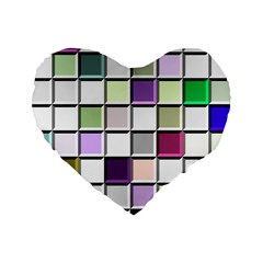 Color Tiles Abstract Mosaic Background Standard 16  Premium Heart Shape Cushions by Samandel