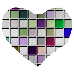 Color Tiles Abstract Mosaic Background Large 19  Premium Heart Shape Cushions by Samandel
