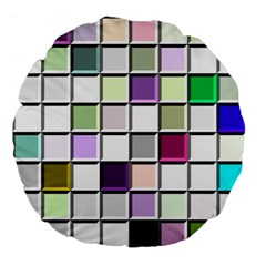 Color Tiles Abstract Mosaic Background Large 18  Premium Flano Round Cushions by Samandel