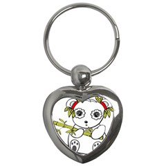 Panda China Chinese Furry Key Chains (heart)