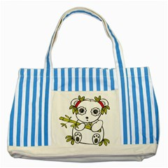 Panda China Chinese Furry Striped Blue Tote Bag by Samandel