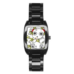 Panda China Chinese Furry Stainless Steel Barrel Watch