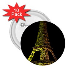 The Eiffel Tower Paris 2 25  Buttons (10 Pack)