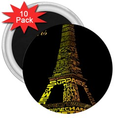 The Eiffel Tower Paris 3  Magnets (10 Pack)