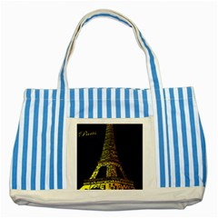 The Eiffel Tower Paris Striped Blue Tote Bag by Samandel