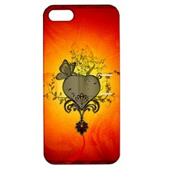 Wonderful Heart With Butterflies And Floral Elements Apple Iphone 5 Hardshell Case With Stand by FantasyWorld7