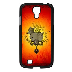 Wonderful Heart With Butterflies And Floral Elements Samsung Galaxy S4 I9500/ I9505 Case (black) by FantasyWorld7