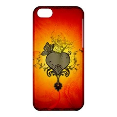 Wonderful Heart With Butterflies And Floral Elements Apple Iphone 5c Hardshell Case by FantasyWorld7