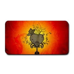 Wonderful Heart With Butterflies And Floral Elements Medium Bar Mats by FantasyWorld7